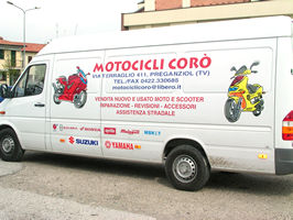 furgone scritte adesive moto